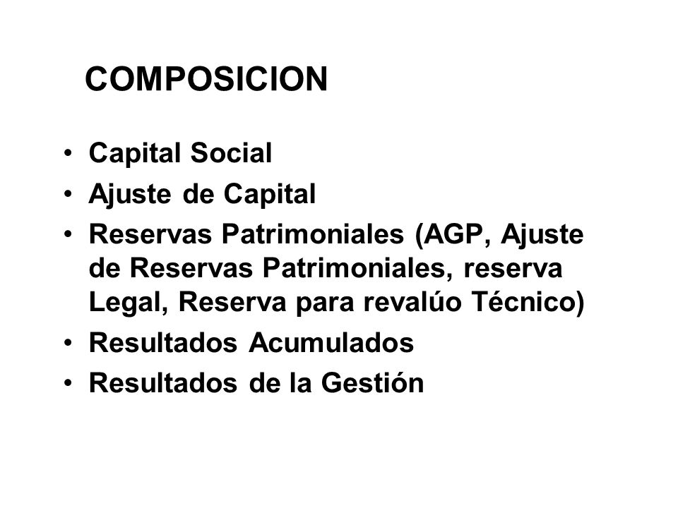 COMPOSICION Capital Social Ajuste de Capital