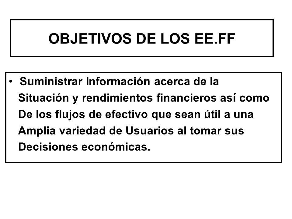 OBJETIVOS DE LOS EE.FF Suministrar Información acerca de la