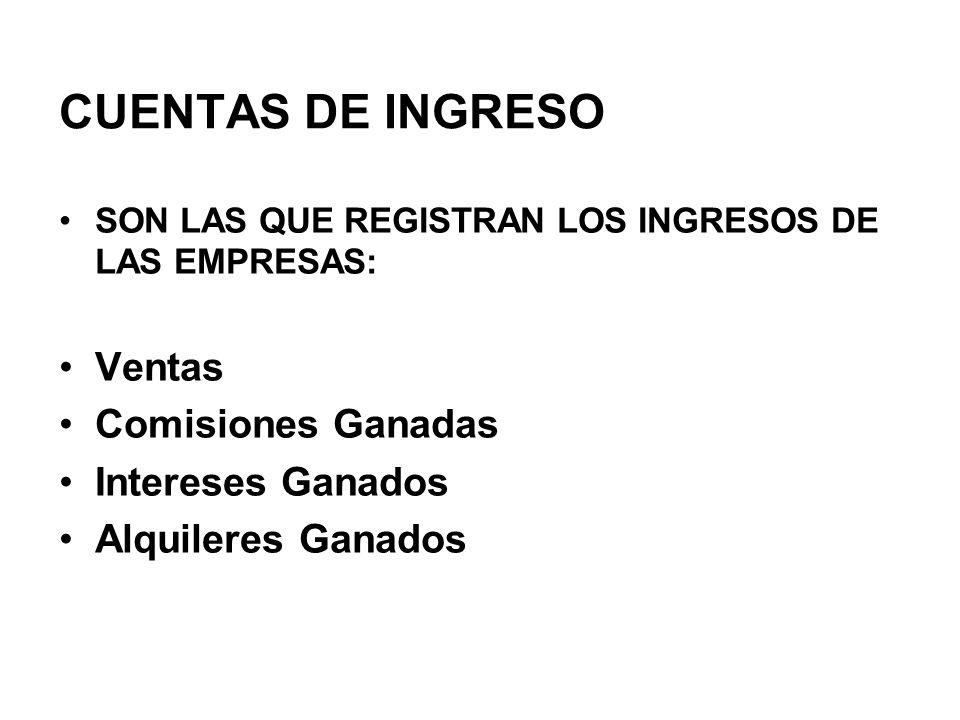CUENTAS DE INGRESO Ventas Comisiones Ganadas Intereses Ganados