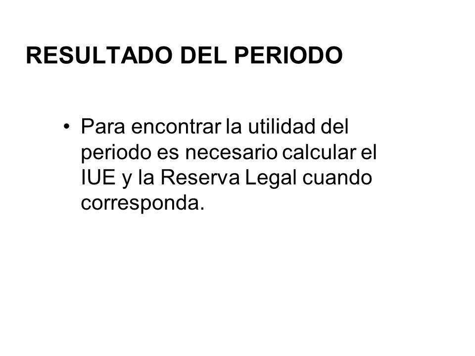 RESULTADO DEL PERIODO Para encontrar la utilidad del periodo es necesario calcular el IUE y la Reserva Legal cuando corresponda.