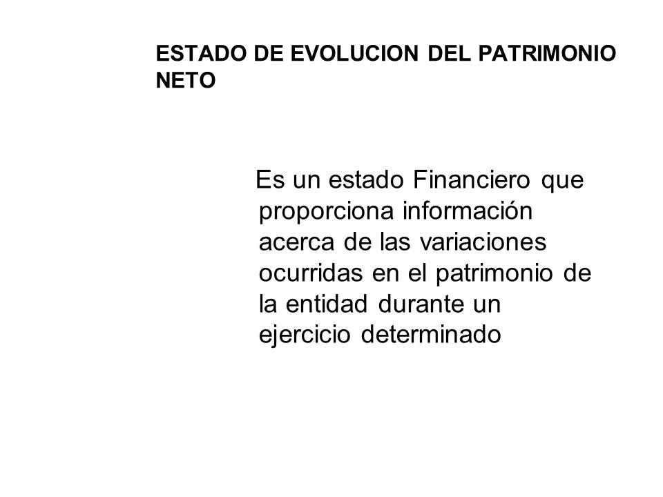 ESTADO DE EVOLUCION DEL PATRIMONIO NETO