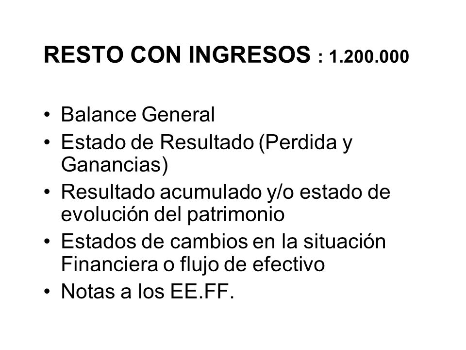 RESTO CON INGRESOS : 1.200.000 Balance General