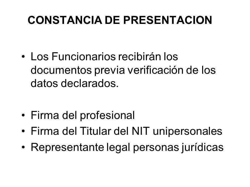 CONSTANCIA DE PRESENTACION