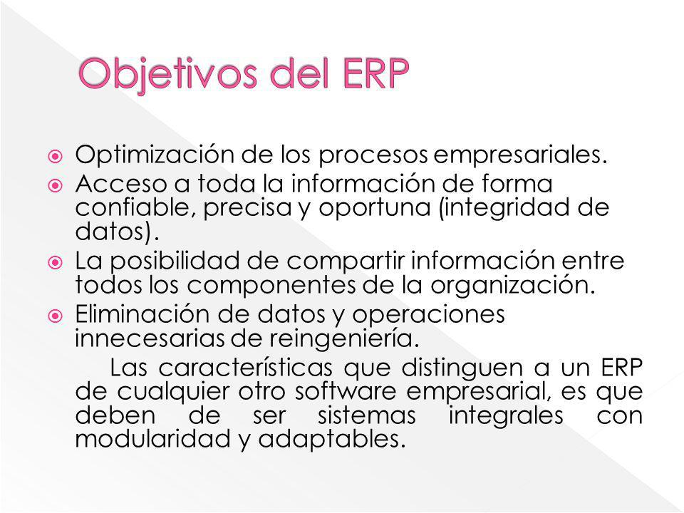 Objetivos del ERP Optimización de los procesos empresariales.