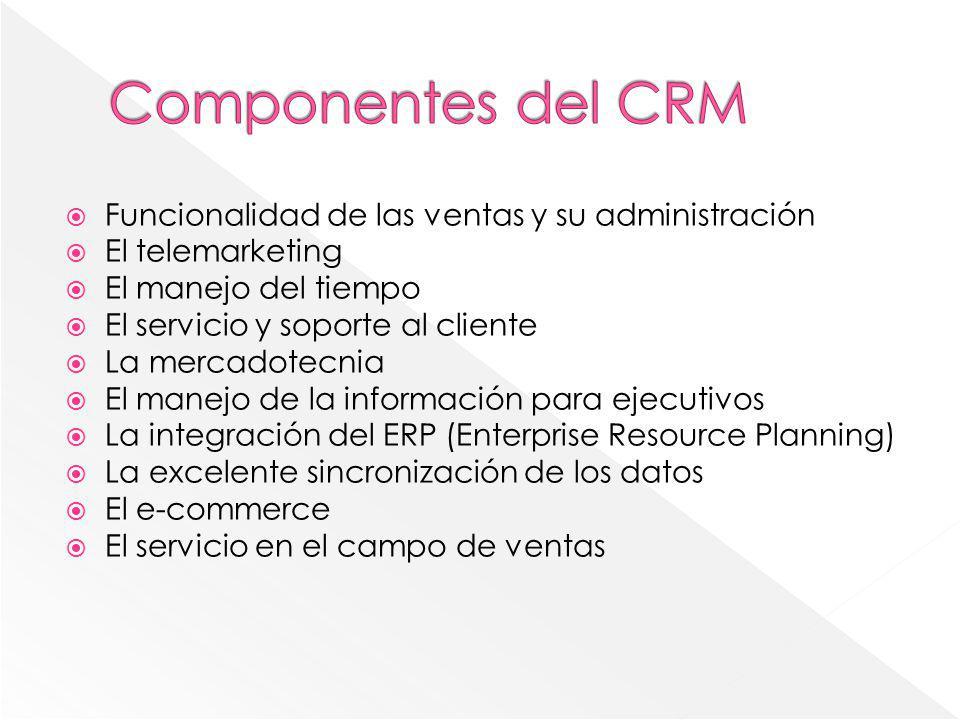 Componentes del CRM Funcionalidad de las ventas y su administración