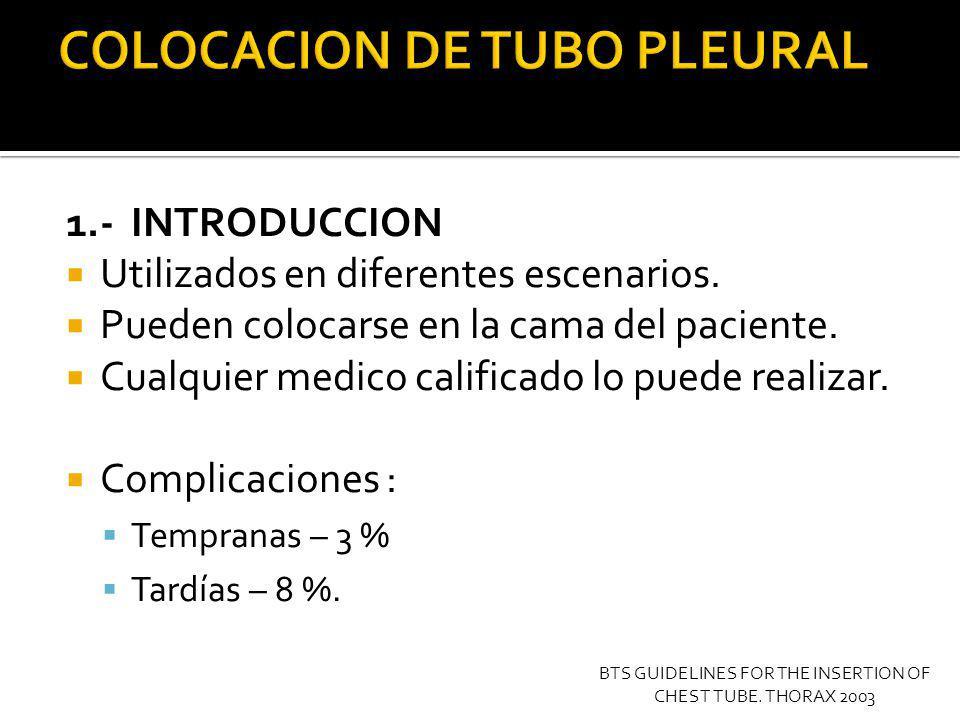 COLOCACION DE TUBO PLEURAL