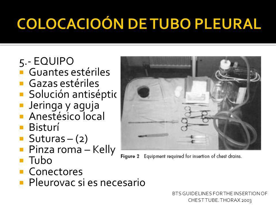 COLOCACIOÓN DE TUBO PLEURAL