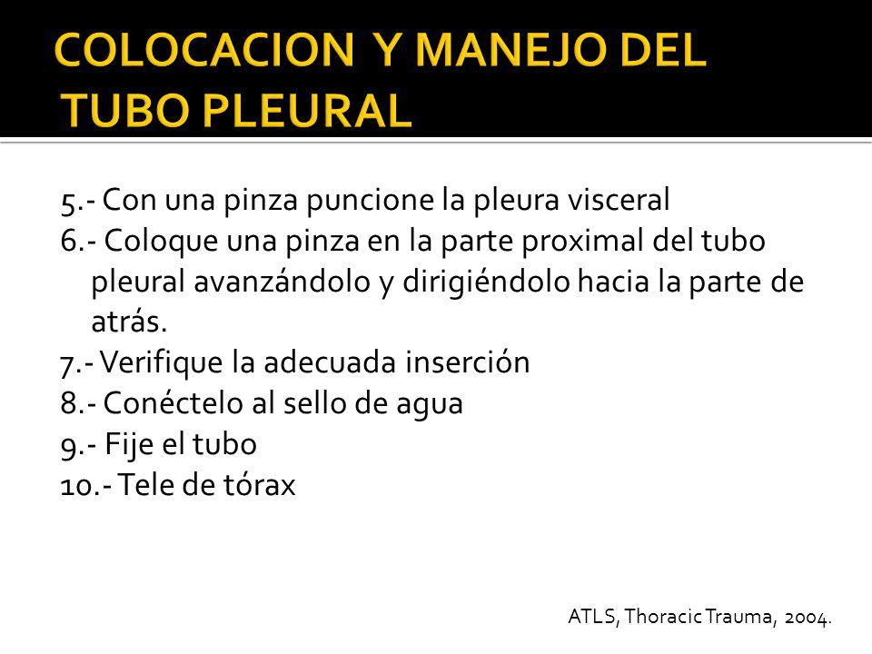 COLOCACION Y MANEJO DEL TUBO PLEURAL