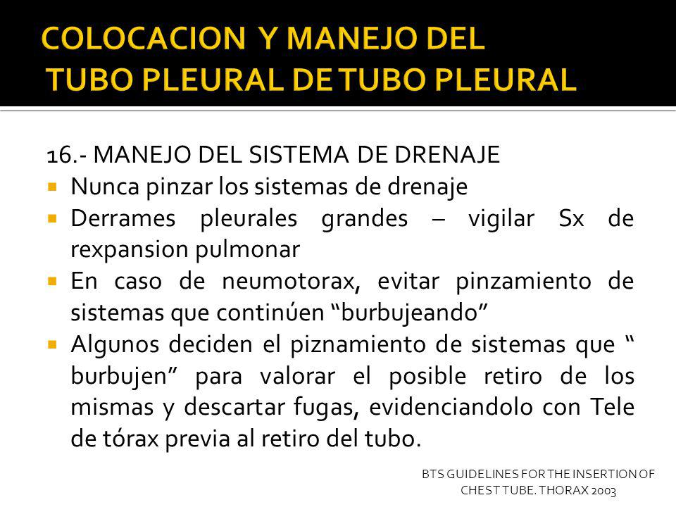COLOCACION Y MANEJO DEL TUBO PLEURAL DE TUBO PLEURAL