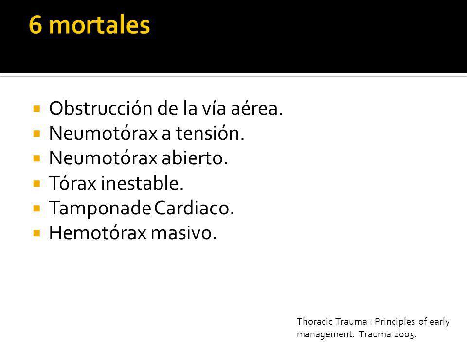 6 mortales Obstrucción de la vía aérea. Neumotórax a tensión.