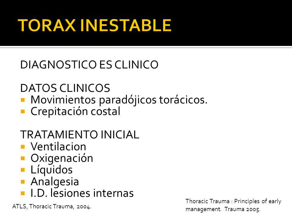 TORAX INESTABLE DIAGNOSTICO ES CLINICO DATOS CLINICOS