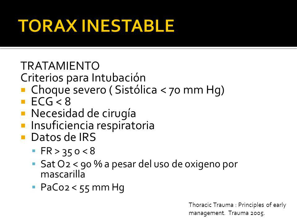 TORAX INESTABLE TRATAMIENTO Criterios para Intubación