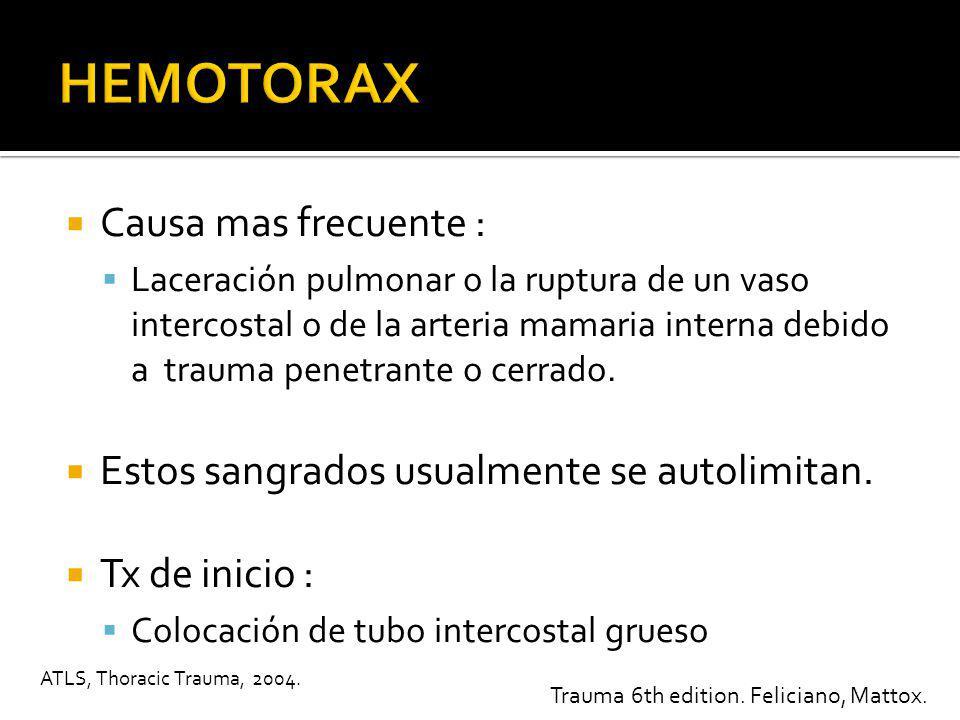 HEMOTORAX Causa mas frecuente :