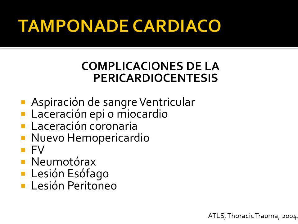 COMPLICACIONES DE LA PERICARDIOCENTESIS