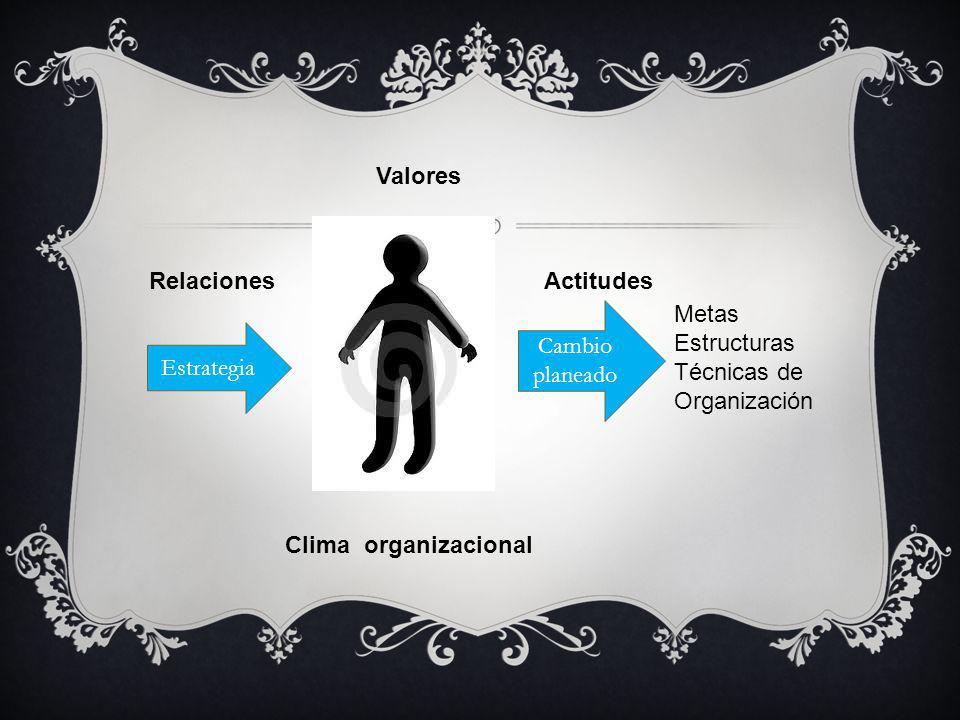 Valores Relaciones. Actitudes. Cambio planeado. Metas. Estructuras. Técnicas de Organización. Estrategia.