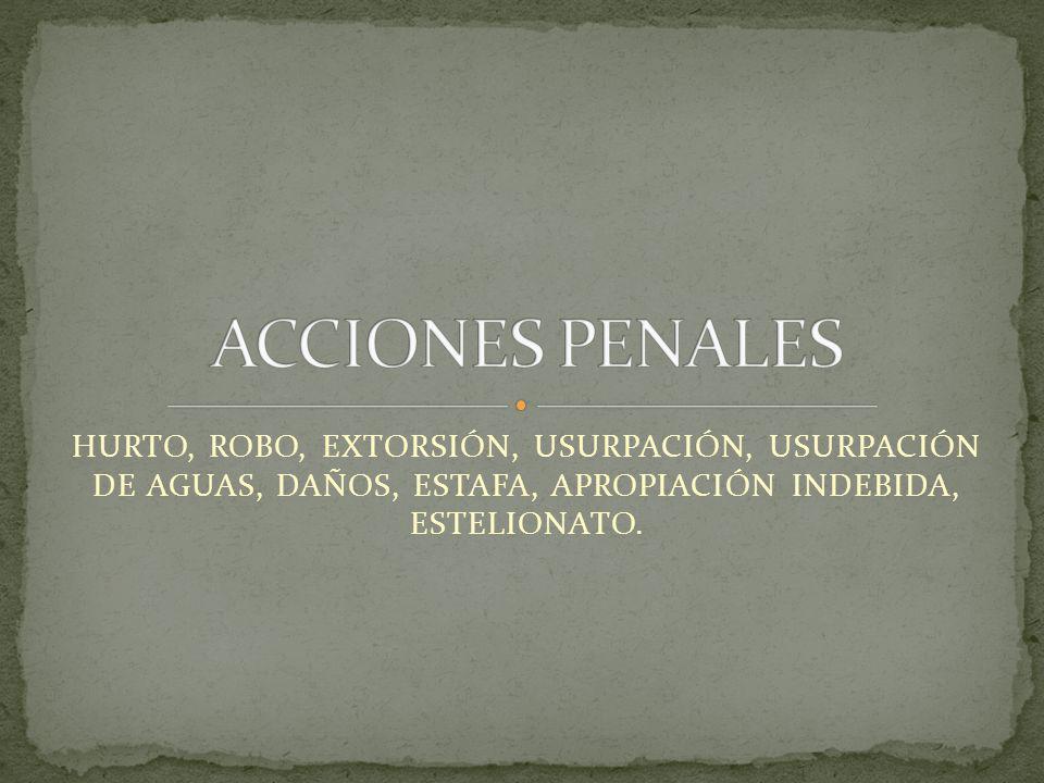 ACCIONES PENALES HURTO, ROBO, EXTORSIÓN, USURPACIÓN, USURPACIÓN DE AGUAS, DAÑOS, ESTAFA, APROPIACIÓN INDEBIDA, ESTELIONATO.