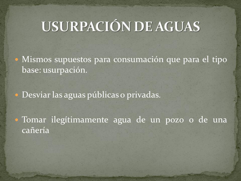USURPACIÓN DE AGUAS Mismos supuestos para consumación que para el tipo base: usurpación. Desviar las aguas públicas o privadas.