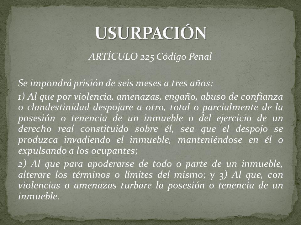 USURPACIÓN ARTÍCULO 225 Código Penal
