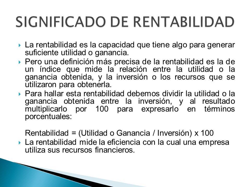 SIGNIFICADO DE RENTABILIDAD