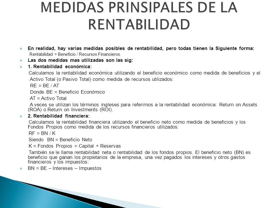 MEDIDAS PRINSIPALES DE LA RENTABILIDAD