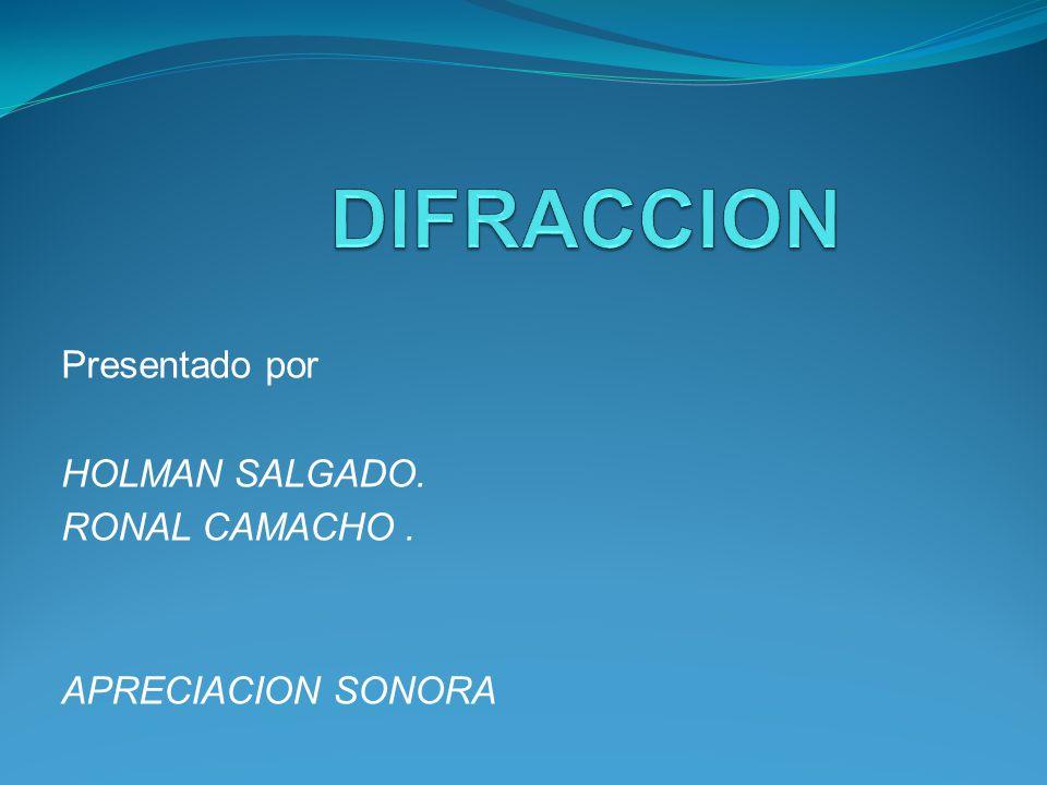 Presentado por HOLMAN SALGADO. RONAL CAMACHO . APRECIACION SONORA