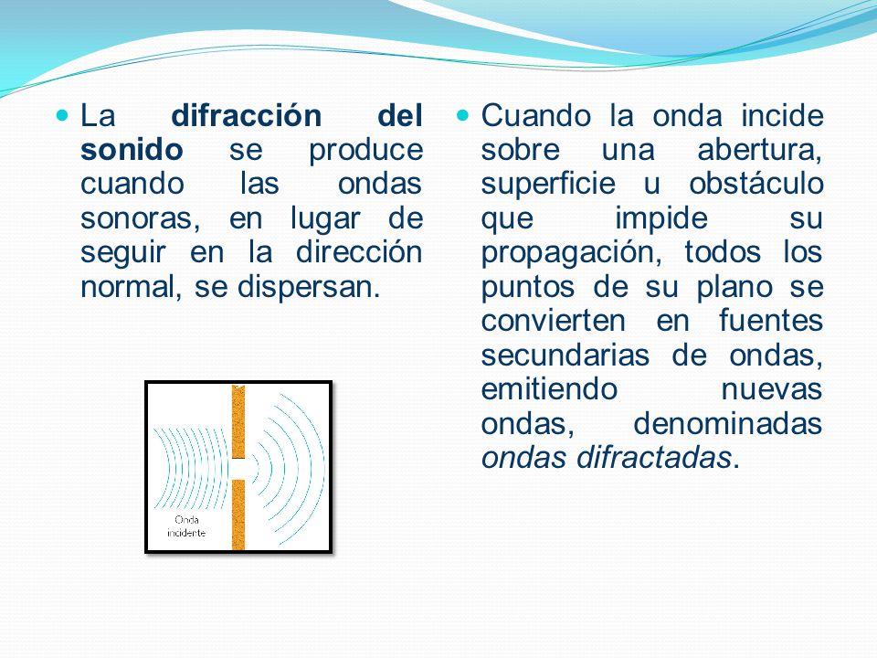 La difracción del sonido se produce cuando las ondas sonoras, en lugar de seguir en la dirección normal, se dispersan.