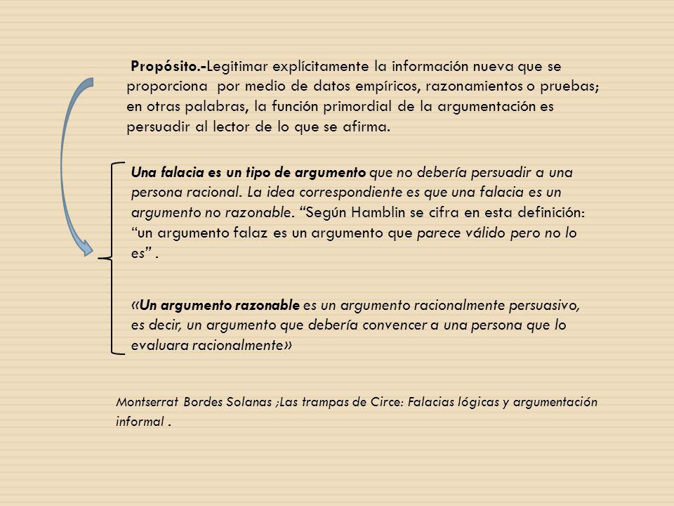 Propósito.-Legitimar explícitamente la información nueva que se proporciona por medio de datos empíricos, razonamientos o pruebas; en otras palabras, la función primordial de la argumentación es persuadir al lector de lo que se afirma.