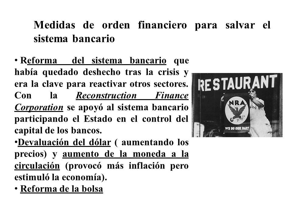 Medidas de orden financiero para salvar el sistema bancario