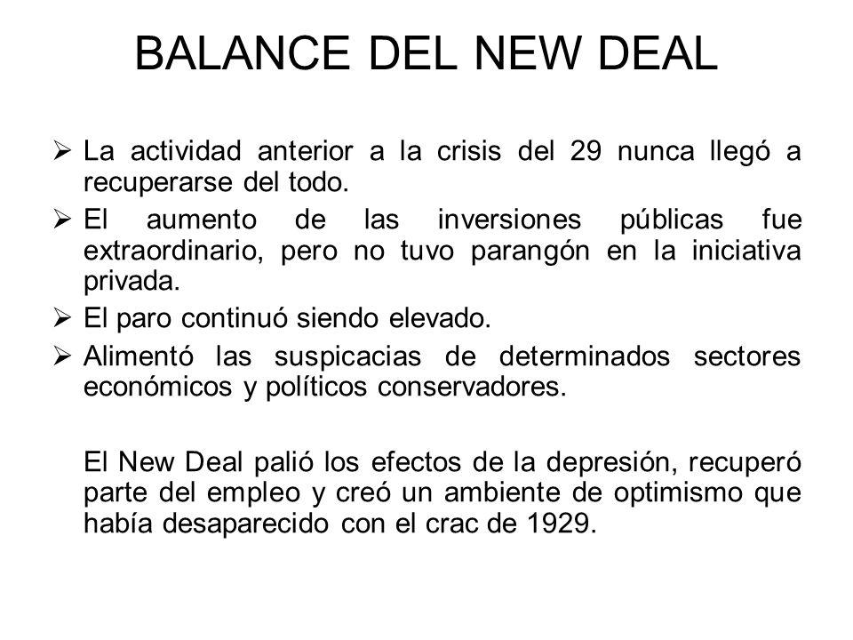 BALANCE DEL NEW DEAL La actividad anterior a la crisis del 29 nunca llegó a recuperarse del todo.