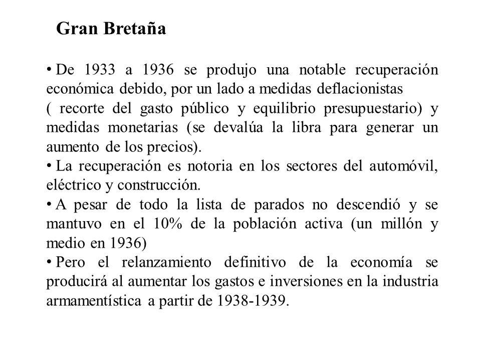Gran Bretaña De 1933 a 1936 se produjo una notable recuperación económica debido, por un lado a medidas deflacionistas.