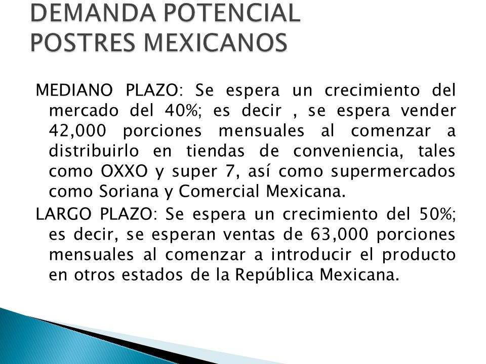 DEMANDA POTENCIAL POSTRES MEXICANOS