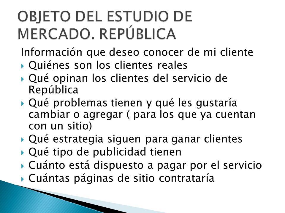 OBJETO DEL ESTUDIO DE MERCADO. REPÚBLICA