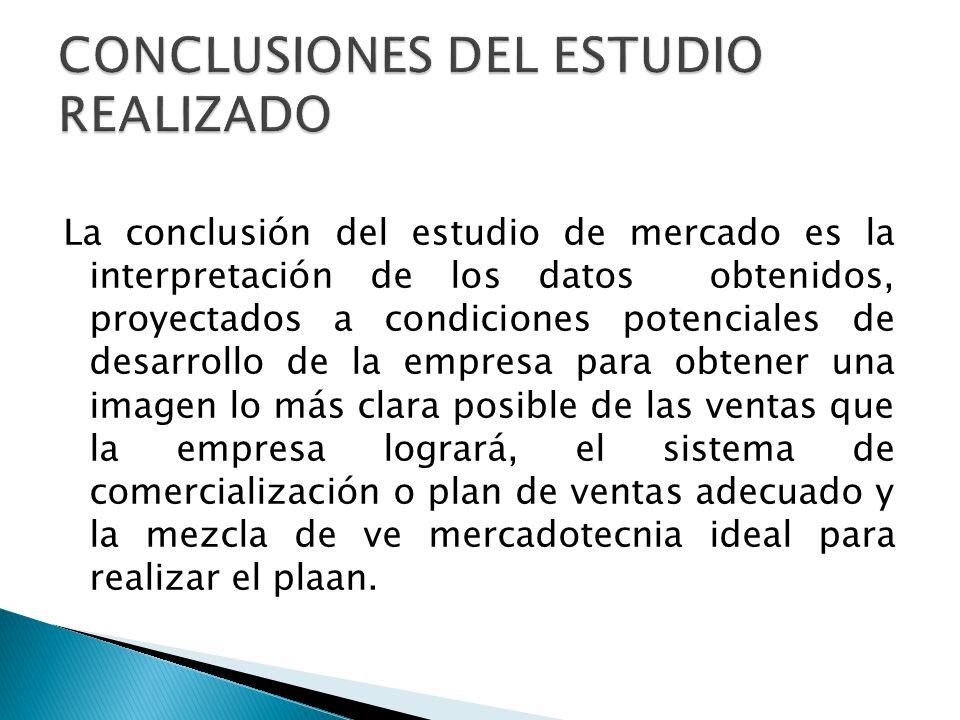 CONCLUSIONES DEL ESTUDIO REALIZADO