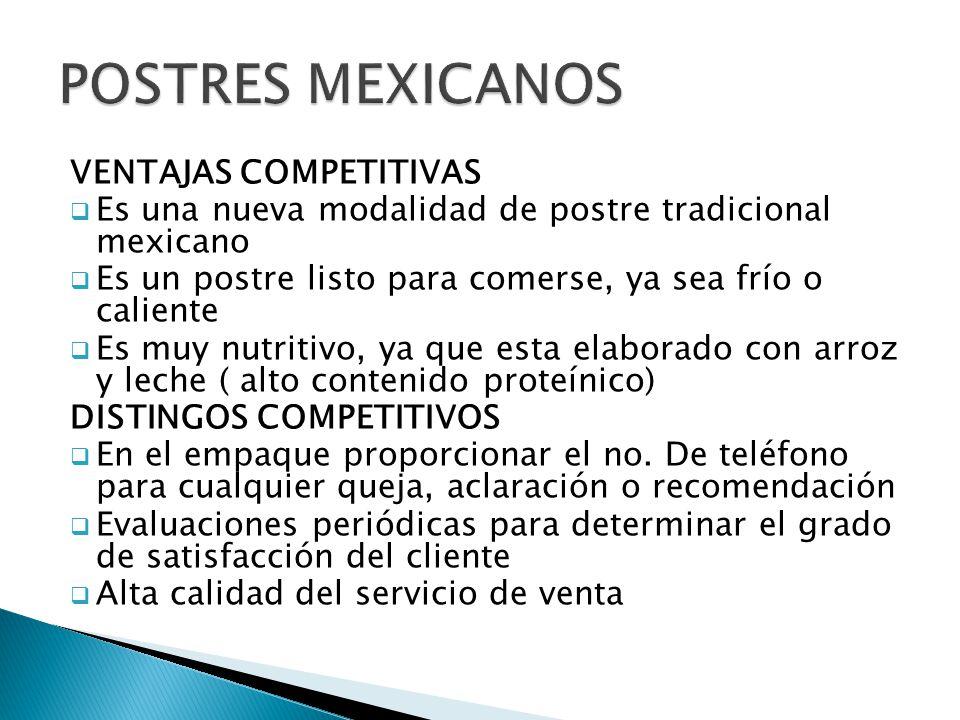 POSTRES MEXICANOS VENTAJAS COMPETITIVAS