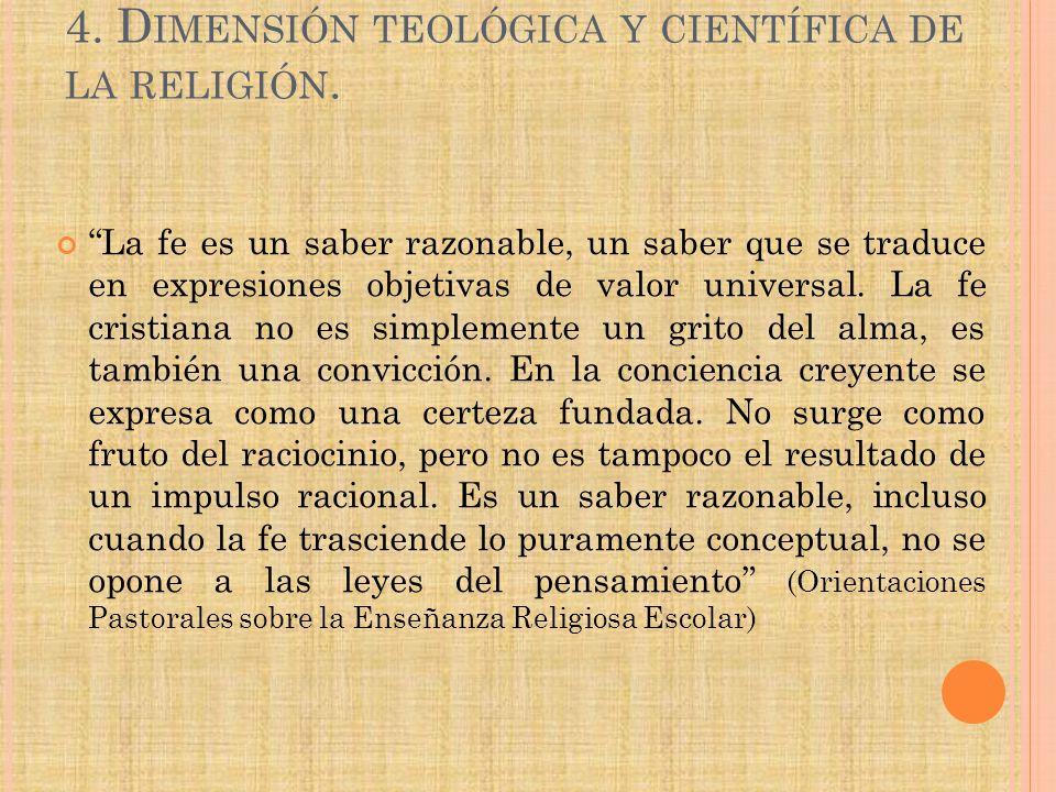 4. Dimensión teológica y científica de la religión.