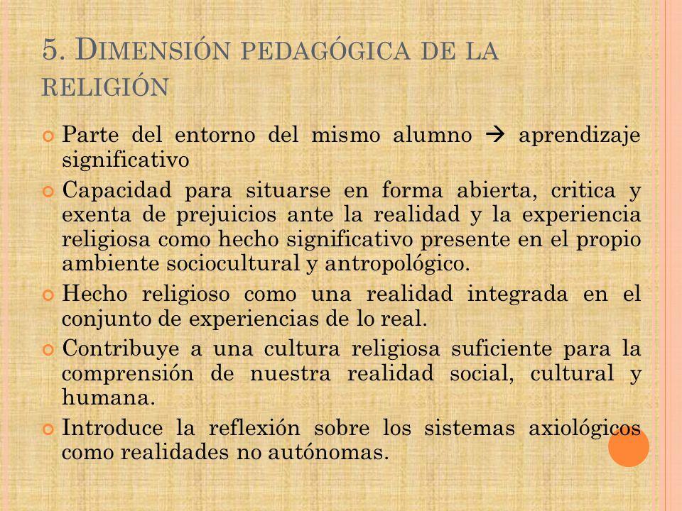 5. Dimensión pedagógica de la religión