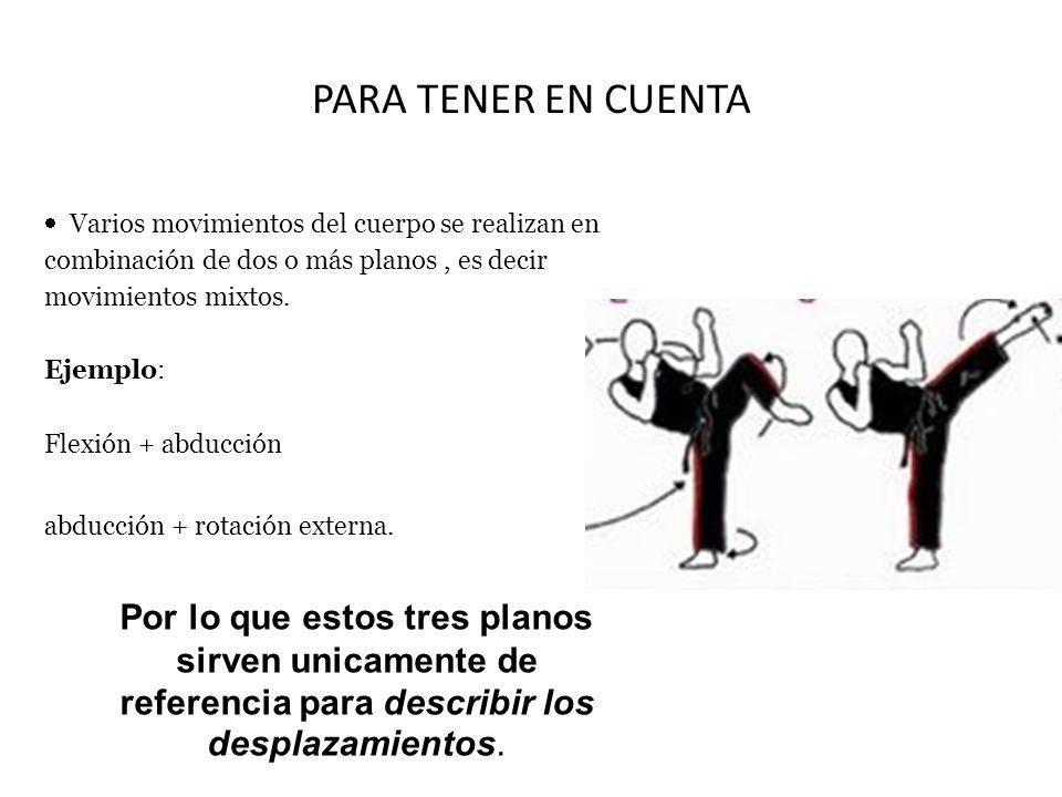 PARA TENER EN CUENTA Varios movimientos del cuerpo se realizan en combinación de dos o más planos , es decir movimientos mixtos. Ejemplo: