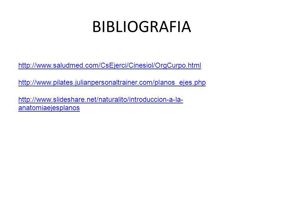 BIBLIOGRAFIA http://www.saludmed.com/CsEjerci/Cinesiol/OrgCurpo.html