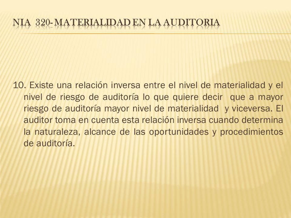 NIA 320- MATERIALIDAD EN LA AUDITORIA