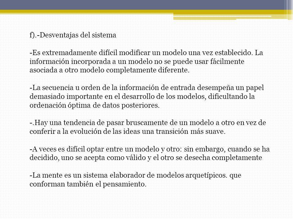 f).-Desventajas del sistema