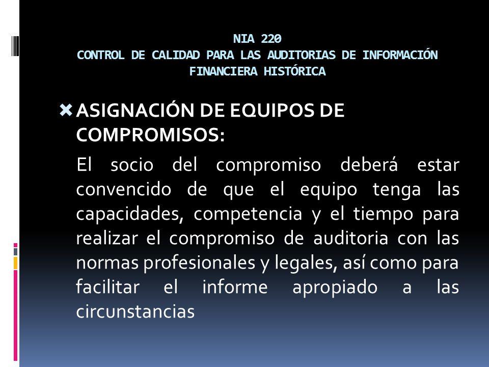 ASIGNACIÓN DE EQUIPOS DE COMPROMISOS: