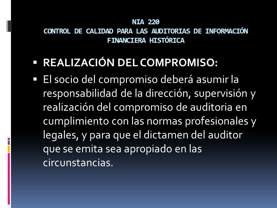 REALIZACIÓN DEL COMPROMISO:
