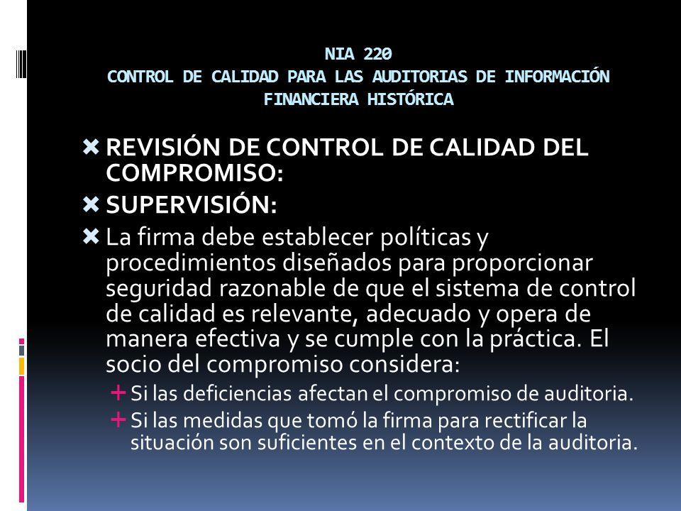 REVISIÓN DE CONTROL DE CALIDAD DEL COMPROMISO: SUPERVISIÓN:
