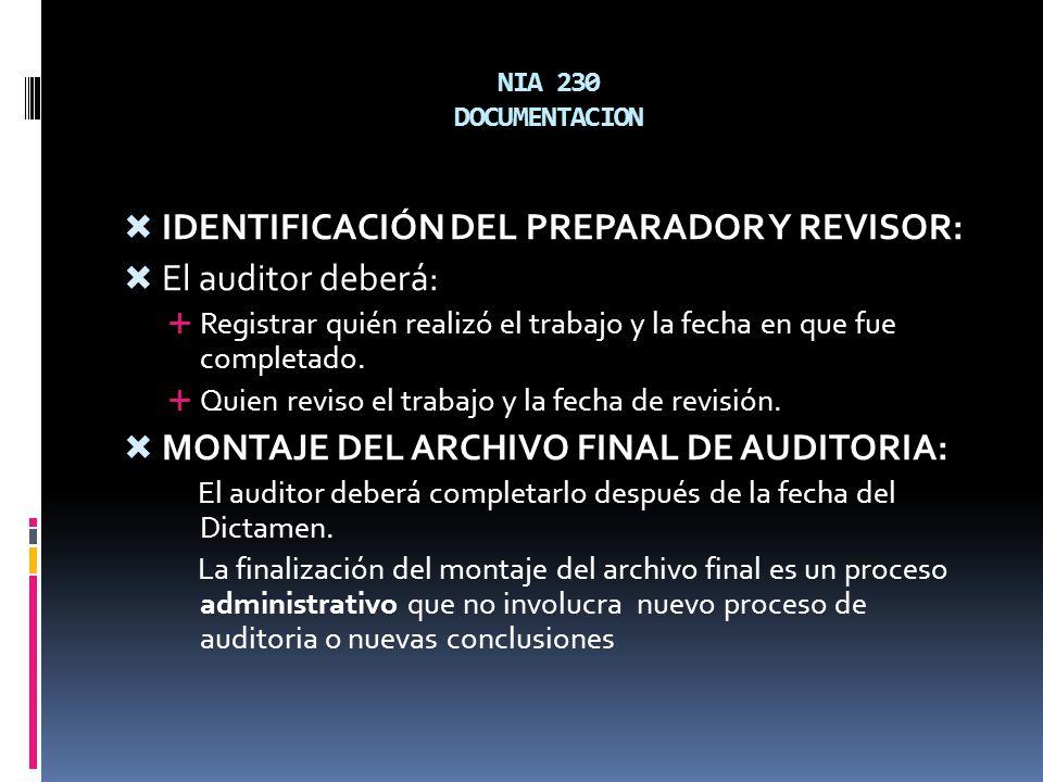 IDENTIFICACIÓN DEL PREPARADOR Y REVISOR: El auditor deberá: