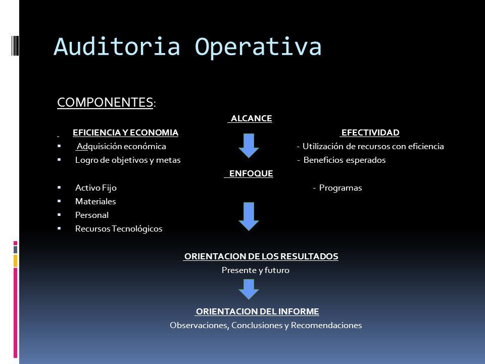 Auditoria Operativa COMPONENTES: ALCANCE