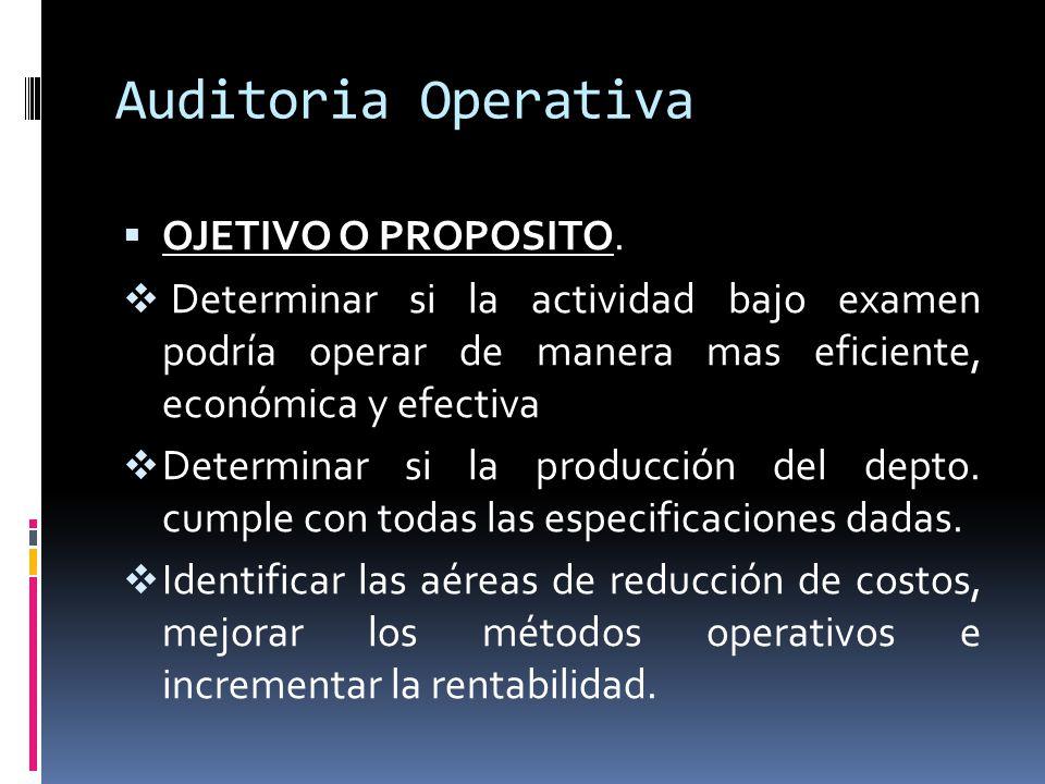 Auditoria Operativa OJETIVO O PROPOSITO.