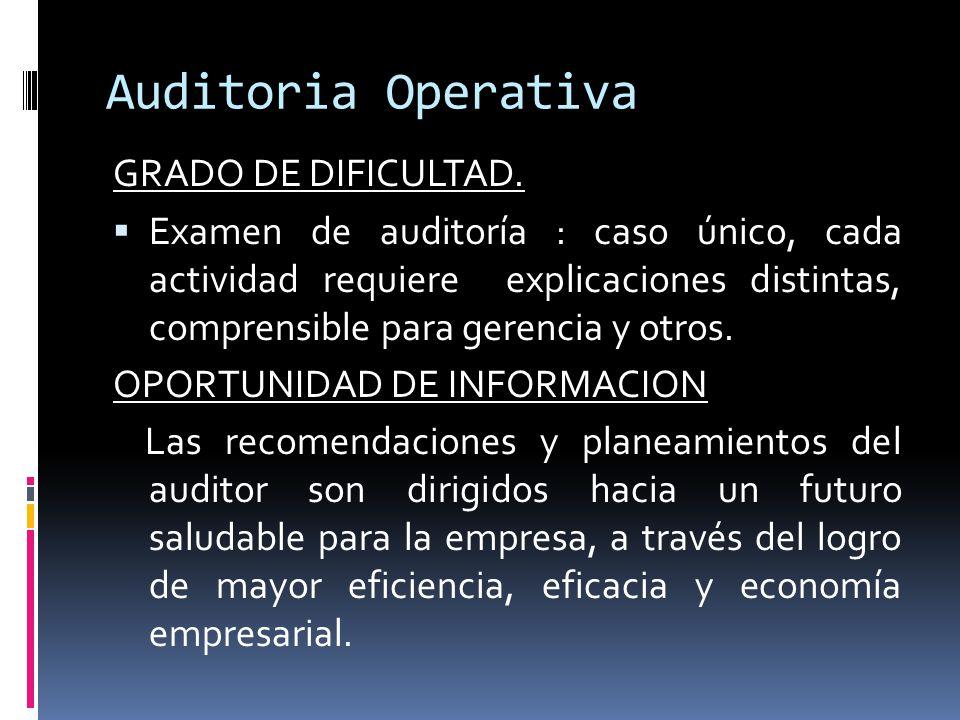 Auditoria Operativa GRADO DE DIFICULTAD.