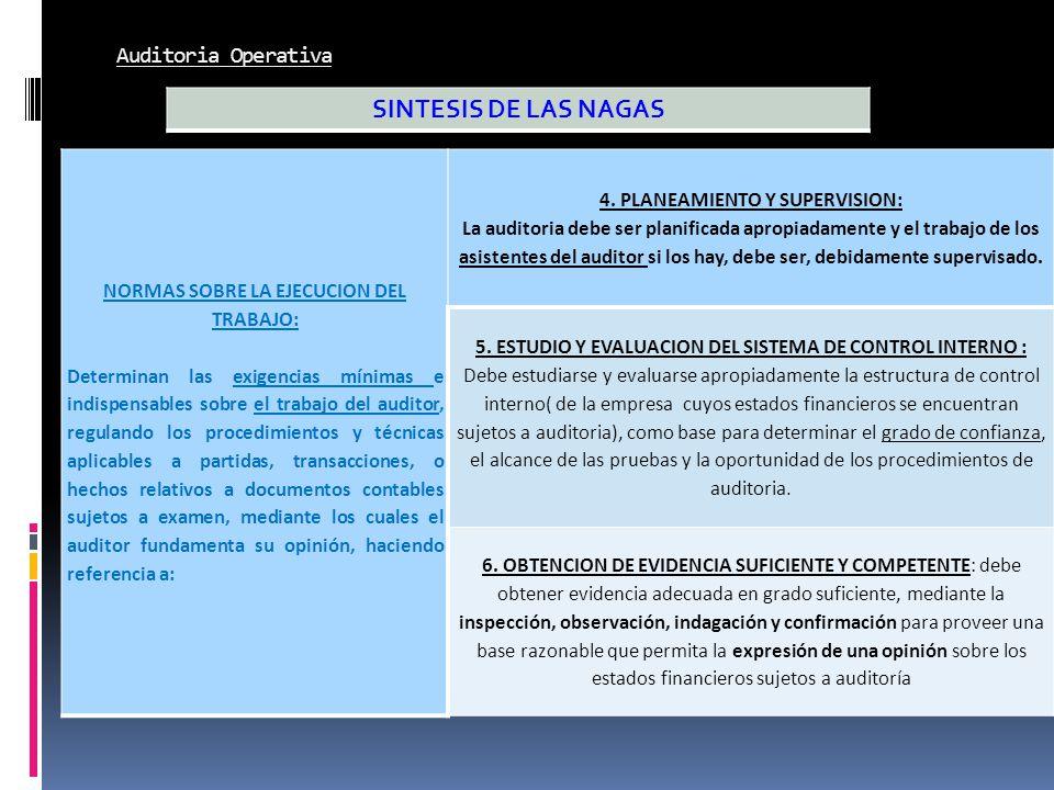 NORMAS SOBRE LA EJECUCION DEL TRABAJO: 4. PLANEAMIENTO Y SUPERVISION: