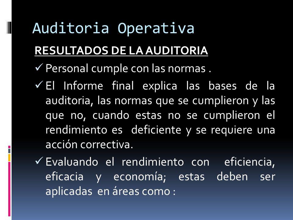 Auditoria Operativa RESULTADOS DE LA AUDITORIA