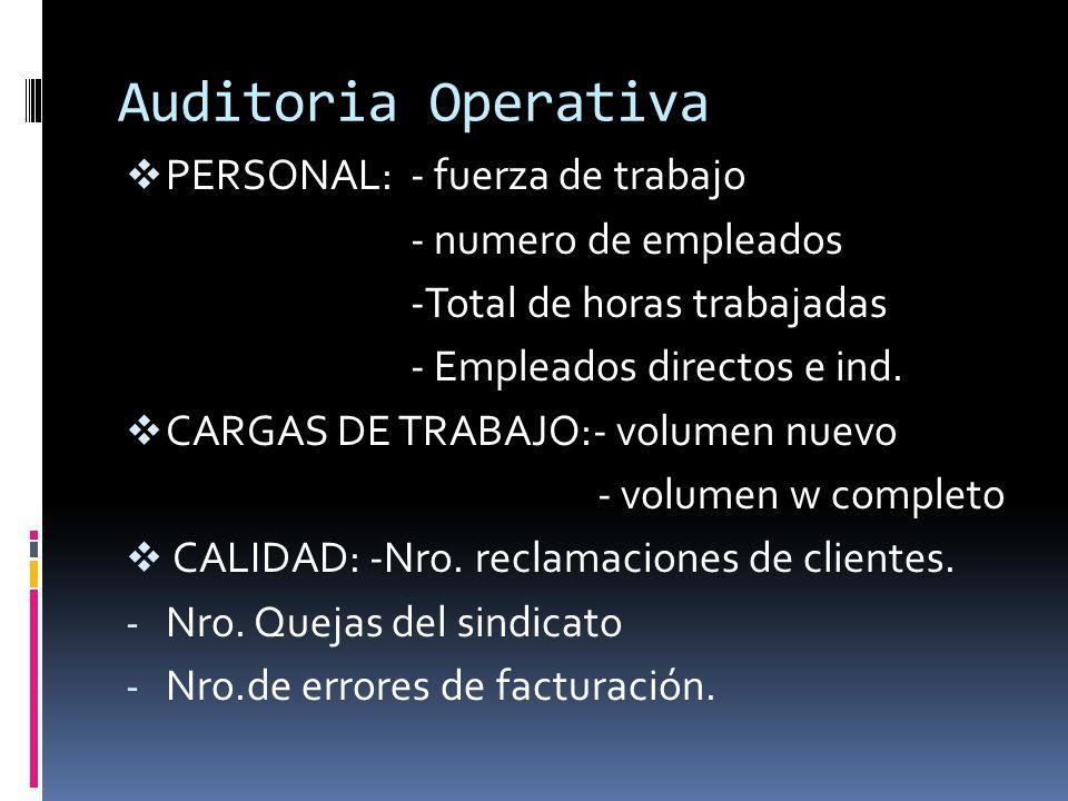 Auditoria Operativa PERSONAL: - fuerza de trabajo